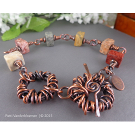 Skye Eye Jasper Gemstone and Solid Copper Bracelet