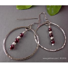 Garnets and Sterling Silver Hoop Earrings
