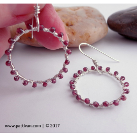 Sterling Silver And Red Garnet Wrapped Hoop Earrings
