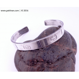 Clone of Thick Hand Stamped Shield Symbol Solid Sterling Silver Cuff