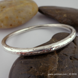 Heavy Sterling Silver Bangle with Hammered Finish