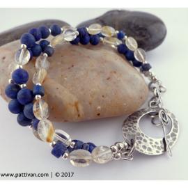 Triple Strand Lapis Lazuli and Lemon Quartz Sterling Silver Bracelet