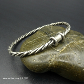 Triple Twist Sterling Silver Bangle