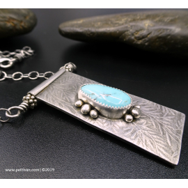 Turquoise and Sterling Silver Hinged Pendant Necklace