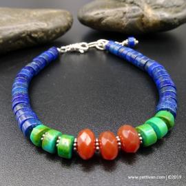 Turquoise Lapis and Carnelian Bracelet