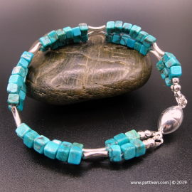 Multi Strand Turquoise and Sterling Silver Bracelet