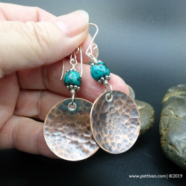 Turquoise and Hammered Copper Disc Earrings