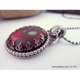 Vibrant Glass Cabochon and Sterling Silver Necklace