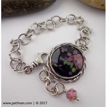 Artisan Glass and Fine Silver Adjustable Bracelet