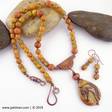 Artisan Jasper Horse Pendant and Jasper Necklace and Earrings