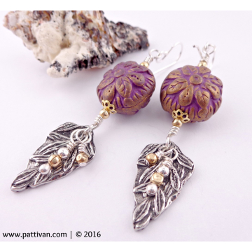 Artisan Pewter and Polymer Clay Sterling Silver Earrings