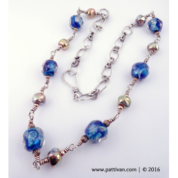Blue Artisan Beads with Gold and Sterling Silver Necklace