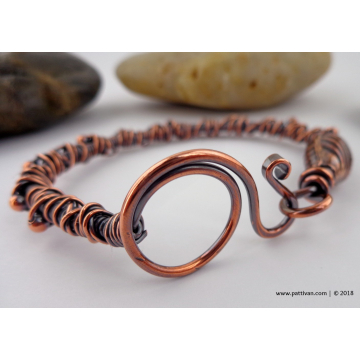 Wire Wrapped Copper Bangle Bracelet