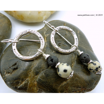 Dalmatian Jasper with Lava Rock and Sterling Silver Earrings