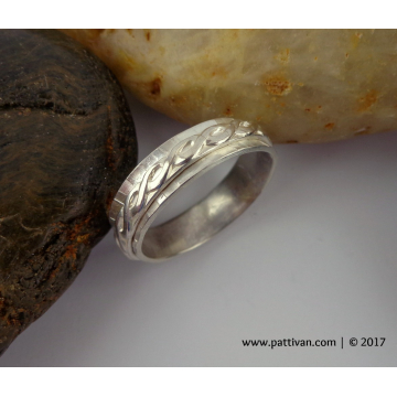 Double Banded Sterling Silver Ring  - US Size 10 1/4