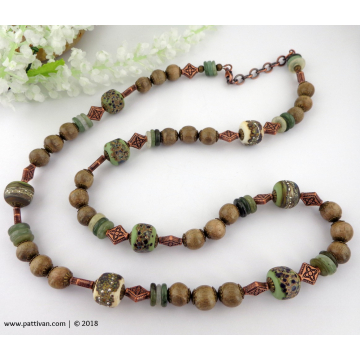 Artisan Glass with Wood and Jade Beads Necklace and Earrings
