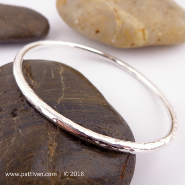 Hammered Heavy Sterling Silver Bangle
