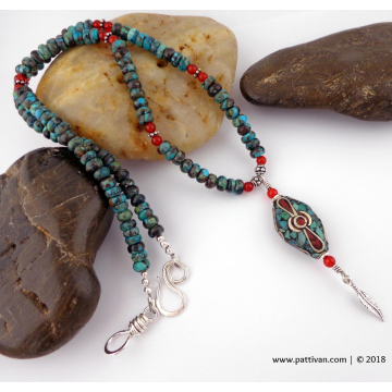 Hubei Turquoise and Carnelian Necklace with Tibetan Bead Focal and Sterling Accents