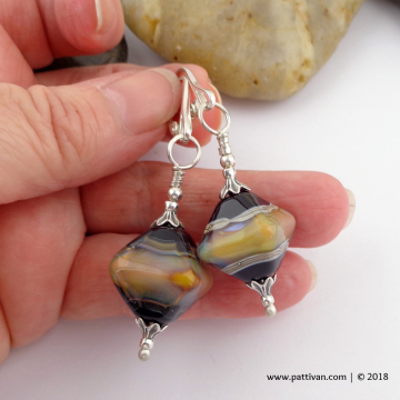 Artisan Glass and Sterling Silver Earrings
