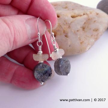 Labradorite and Citrine Gemstone Sterling Silver Earrings