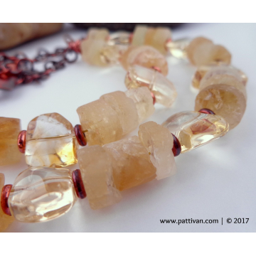 Citrine Gemstones and Copper Necklace