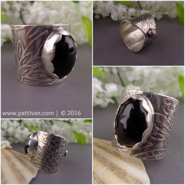 Onyx and Etched Sterling Silver Wide Band Ring