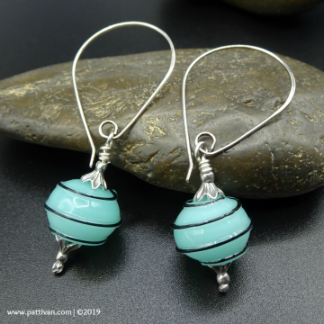 Striped Artisan Glass and Sterling Silver Earrings