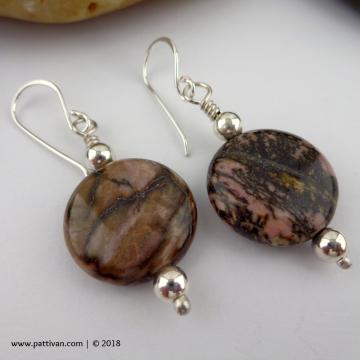 Rhodonite and Sterling Silver Earrings