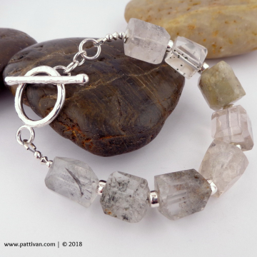 Tourmalinated Quartz Crystal and Sterling Silver Bracelet