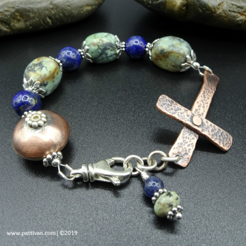 Sideways Cross Bracelet with Turquoise and Lapis Lazuli