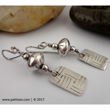 Sterling Silver Bead and Tab Style Dangle Earrings
