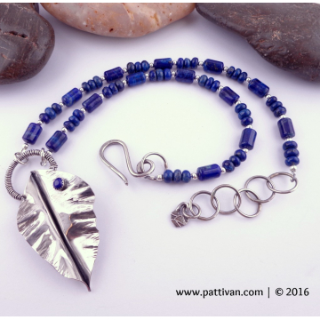 Lapis Lazuli and Sterling Fold Formed Leaf Focal Necklace