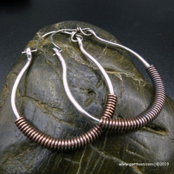 Sterling Silver Hoops with Copper Accents