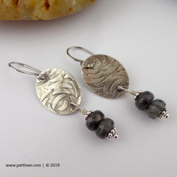 Textured Sterling Silver and Faceted Labradorite Earrings