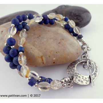 Triple Strand Lapis Lazuli and Lemon Quartz Sterling Silver Bracelet